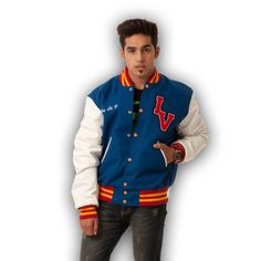 We make letterman jackets and varsity jackets to your custom specifications. Royal Blue Letterman Varsity Jackets,