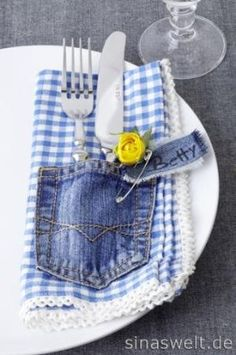 recycled jeans pockets sewn into napkins. by Liliana Henao