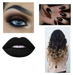 """""""black"""" by royal727 on Polyvore featuring beauty and Lime Crime"""