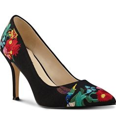 Embroidered butterflies and hummingbirds make this classic pump absolutely charming
