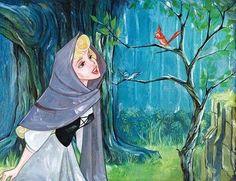 Jim Salvati - Singing With The Birds - From Disney Sleeping Beauty Giclee On Canvas Arte Disney, Disney Magic, Disney Pixar, Sleeping Beauty Art, Walt Disney Cartoons, Aurora Disney, Disney Fine Art, Disney Drawings, Disney Sketches