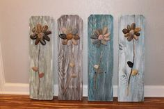 3D Rock Flowers on Reclaimed Fence Pickets with by CSquaredCustoms, $80.00