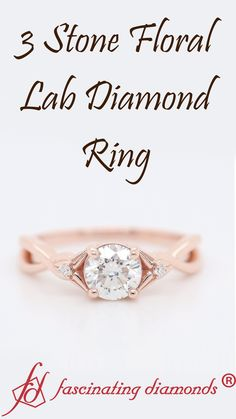 Shop three stone lab diamond flower round engagement ring in rose gold at Fascinating Diamonds. This diamond engagement ring is designed in Prong setting Elegant Engagement Rings, 3 Stone Engagement Rings, Small Diamond Rings, Best Diamond, Diamond Flower, Three Stone Rings, Lab Diamonds, Diamond Design, Jewelry Rings
