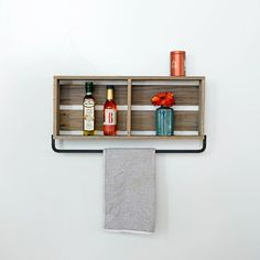 Barnwood Kitchen Shelf With Towel Holder- make this with old fruit crate?