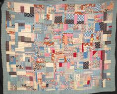 """Vintage quilt """"Super busy no vacancy"""", Love this quit and it's name Old Quilts, Antique Quilts, Vintage Quilts, Quilting Ideas, Quilt Patterns, Gees Bend Quilts, Black Fist, Crumb Quilt, Primitive Quilts"""
