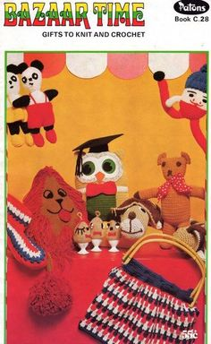 70s Vintage Knitting & Crochet patterns book Bazaar Time Patons C28 Stuffed Toys bags tea cosy. , via Etsy.