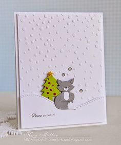 My Joyful Moments— Supplies: Tree-Taylored Expressions Embossing Folder- Taylored Expressions Fox- Cottage Cutz Stitched snow hill- Lawn Fawn Sentiment- Papertrey Ink