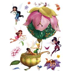 Disney Fairies Poster-Sticker Wall-Tattoo - In A Wonderfull Ballon x 26 inches) Charles Petillon, Baloon Wall, Peter Pan And Tinkerbell, Disney Animated Movies, Wall Tattoo, Disney Fairies, Flower Wall Stickers, Magnolia Flower, Woods
