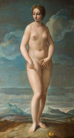 Oil on canvas, 186cm by 102cm. The artist had a well known preference for lightly clad, or naked, female figures. The original painting by Titian, now destroyed, was part of a fresco on the façade ...
