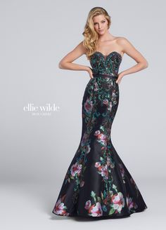 b6543491ab1 Strapless Sweetheart Print Mikado Mermaid Prom Gown - EW117149. Prom  Dresses With ...
