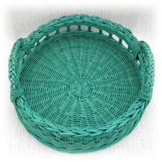 Wicker round tray turquoise by WeavingAndVintage on Etsy