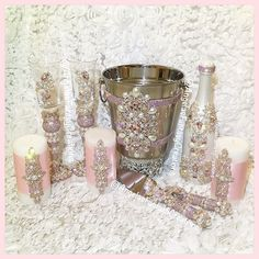 #JAMAICA we have arrived! Our gorgeous #rosegold, #pink, and #pearl set traveled for a #Jamaicanwedding #memorybottlle #serverset #servingset #cakeknife #cakeknifeserver #champagne #champagnebucket #icebucket #candle #candles #champagneglasses #champagneflutes #champagnebottle #weddingaccessories #wedding #eventplanning #blingbottle #weddingbling #bridalbling