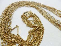 Vintage Necklace 4 Strand 25 Long Gold Tone Metal by KathiJanes, $17.95