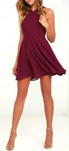Forevermore Burgundy Skater Dress 'til the end of time! Semi-sheer shoulder straps form a modified halter neckline atop a fitted bodice with princess seams. A flirty skater skirt, composed of lightweight Georgette, flares below a banded waist. Semi Dresses, Hoco Dresses, Pretty Dresses, Beautiful Dresses, Casual Dresses, Summer Dresses, Winter Formal Dresses, Elegant Dresses, Halter Dresses