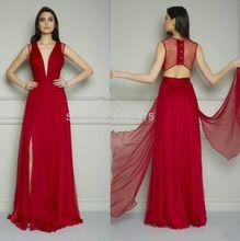 Rojo largo Prom vestidos Sexy cuello en V profundo hundiendo vestidos noche Prom vestidos Side Backless de noche turca vestidos vestido longoCE08(China (Mainland))