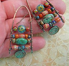 Vintage Nepal beads, Czech aged beads ,Vintage stripe beads,Vintage beads ,stone beads hand verdigris oxidized copper dangle earrings ,50 x 10 mm wide Medium Light to wear.