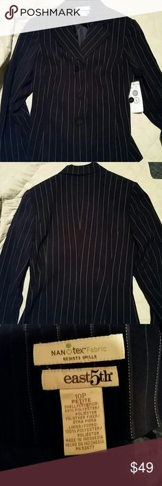 NWT Nano Tex East 5th Blazer size 10P New with tag Nano Tex East 5th Blazer size 10 petite shell is 99% polyester 1% other fiber lining is 100% polyester navy blue pinstripe East 5th Jackets & Coats Blazers
