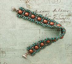 Linda's Crafty Inspirations: SuperDuo Ruffle Bracelet - Turqouise & Copper