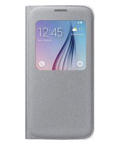 Samsung Galaxy S6 S View Flip Case Stof Silver