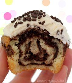 Chocolate Vanilla Swirled Cupcakes