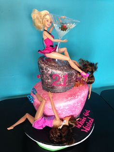 21st Birthday topsy turvy cake. Barbie. Made at White Oak Bakery in Jacksonville, NC  https://m.facebook.com/profile.php?id=229641777853&tsid=0.7721540010534227&source=typeahead