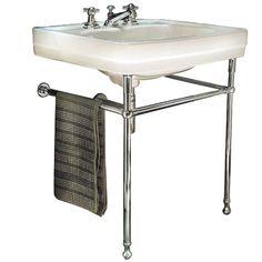Lavabo style ancien sur pied, WC Palladio, réédition, pietement métal