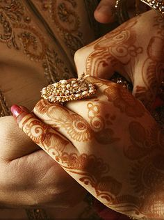 Dulhan Bride Indian Pakistani Desi Wedding Dulha Groom Henna Mehndi --- SPECIAL MOMENT HOLDING HANDS