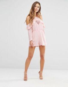 Shop Boohoo Petite Cold Shoulder Ruffle Romper at ASOS. Cute Fashion, Fashion Looks, Fashion Outfits, Pretty Outfits, Cute Outfits, Cute Dresses, Summer Dresses, Boohoo Petite, Ruffle Romper