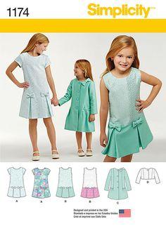 Simplicity Sewing Pattern 8271 Girl/'s Vestido Ocasión Especial Y Bolero Jacket