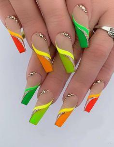 Bling Acrylic Nails, Glam Nails, Best Acrylic Nails, Acrylic Nail Designs, Nail Art Designs, Rave Nails, Neon Nails, Neon Nail Art, Stylish Nails
