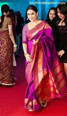 Vidya Balan in Traditional Saree – Bollywood actress Vidya Balan in purple color traditional bridal silk saree paired up with quarter sleeves brocade blouse. Indian Attire, Indian Wear, Indian Style, Indian Dresses, Indian Outfits, Indian Clothes, Indische Sarees, Indie Mode, Divas