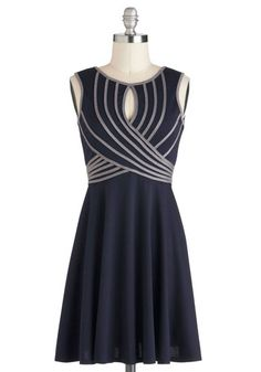 Possibly too casual, but love the pattern Swoops and Dreams Dress - Short, Blue, Grey, Party, A-line, Sleeveless, Stripes
