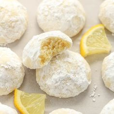 Buttery and tender lemon cookies rolled in powdered sugar. These Lemon Snowball Cookies are so easy to make, incredibly delicious, and they don't require any dough chilling! Lemon Drop Cookies, Lemon Sugar Cookies, Sugar Cookies Recipe, Easy Cookie Recipes, Snack Recipes, Dessert Recipes, Cooking Recipes, Citrus Recipes, Snacks