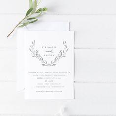 Printable Wedding Invitation Suite - Simple - Botanical - Modern - White - Custom - Download - Invitation Set - DIY - Digital - Printed by JakbernCreative on Etsy