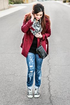 Oxblood red, tribal, & converse