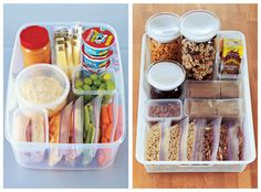 Such a great idea to keep ALL school lunch items together in the fridge or ALL kid approved snacks together and in single portions.