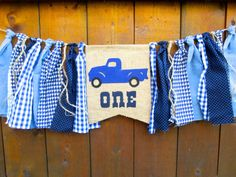 Little Blue Truck Birthday Banner Highchair High Chair Vintage Blue Plaid…