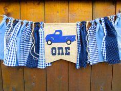 Little Blue Truck Birthday Banner Highchair High Chair Vintage Blue Plaid…