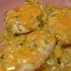 Green Chili and Cheese Chicken - Very good and you can double - but count on at least 50 min of cooking time.