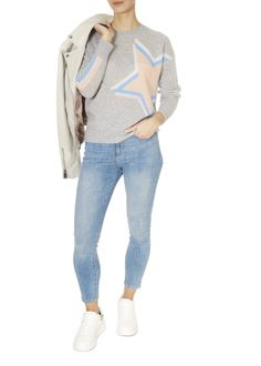 The 'Estella' Grey Crew Neck Jumper by 360 Cashmere is the essential piece your closet needs. Shop Now Cashmere Fabric, Cashmere Color, Pink Sweater, Jumper, Grey Wash, Star Designs, Open Front Cardigan, Cami Tops, Crew Neck
