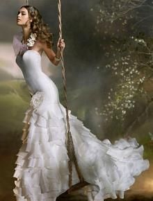 d4367d7e70 Lazaro - Ivory silk satin organza bridal gown with ruffled skirt