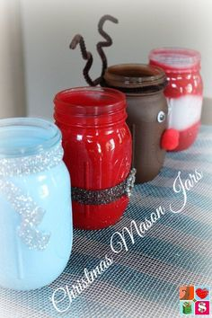 How To Make Santa Mason Jars + More Holiday Jar Tutorials I had so much fun making my Fall Mason Jars, I knew I wanted to make Christmas Mason Jars! And Ch