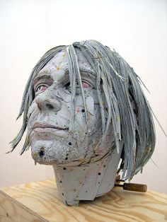Paper bust of Kurt Cobain by Scott Fife