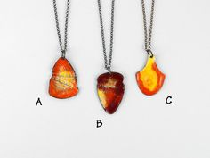 Eruption  pieces of lava shield enameled by FirepanJewellery