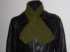 Olive Whimsey Cross Your Heart Scarf - keynote scarf - crochet scarf