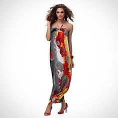 Women's Sleeveless Bohemia Style Colorful Strap Long Beach Dress