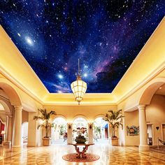 Custom Photo Wallpaper Starry Sky Night View Ceiling Mural Modern Art Living Room Kitchen Wall Painting Paper Mural De Parede 3D