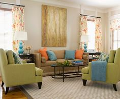 """Tips for Color Success: When you're spreading color around a room, think about proportion. If you're using three colors, try a 70/20/10 distribution. Use the lightest color for 70 percent of the room's decor, the second lightest for 20 percent, and the boldest 10 percent. For two colors, go 70/30."""