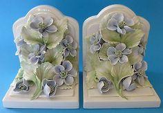 Capodimonte Style Flower Bookends Italy Italian Ceramic Flowers O G G   eBay