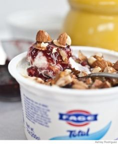 What you need:  7 oz container plain yogurt (I recommend Greek yogurt)  1 Tbsp. raspberry jam (or any other favorite - raspberry just happens to be mine)  1 tsp. honey  2 Tbsp. toasted almonds, roughly chopped